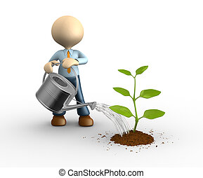 Gardener - 3d people - man, person who waters sprout....