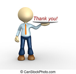 Thank you - 3d people - man, person showing word Thank you...