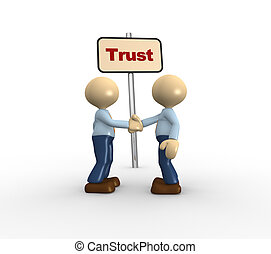 Trust - 3d people - men, person and a banner with word trust...