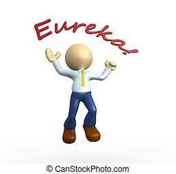 Eureka - 3d people - man, person happy jumping for the...