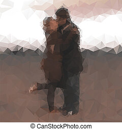 Polygonal kissing couple - Polygonal triangle abstract...