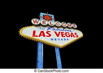 Vegas Sign Isolated - Las Vegas Famous Strip Entrance Sign...
