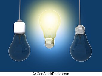 Bright Idea Conceptual Illustration. 3D Illustration with...