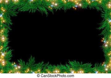 Holiday Framework Isolated on Back. Christmas Spruce Fir...
