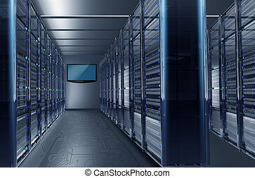 Datacenter Alley - Data Center Alley with Large Wall TV...