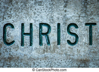 Christ In Rock - Religious Concept Image Of The Word Christ...