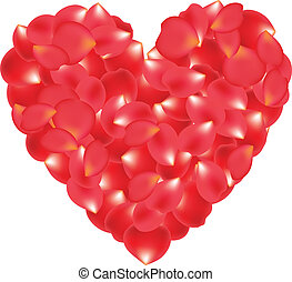 rose petals - A heart made of rose petals isolated on white