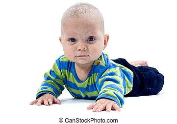 Toddler - Crawling toddler on white