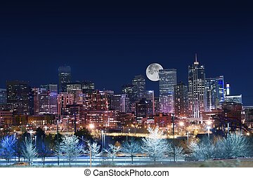 Denver Skyline West Side. Night in Colorado. Downtown Denver...