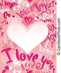 Background with brush strokes and scribbles in heart shapes and words LOVE, I LOVE YOU - Valentines Day card