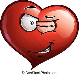 Heart Faces - Winking - Cartoon Illustration of a Heart Face...