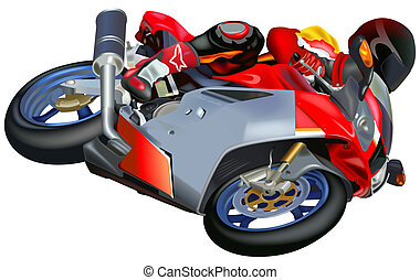 Motorcycle Racing - Colored Illustration, Vector