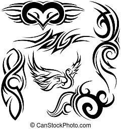 Tribal Tattoos - Black Illustration, Vector