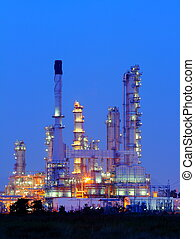 Petrochemical oil refinery plant at twilight.