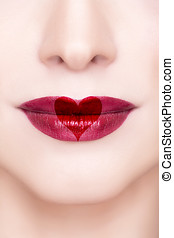 Red lips with heart shape