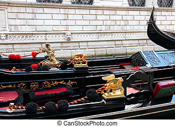 Italy. Venice. Details of typical venitian gondolas