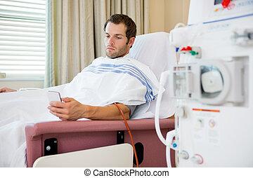 paciente, Utilizar, mobilephone, diálisis, centro