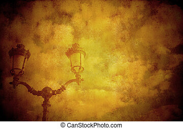background vintage style lamp and clouds