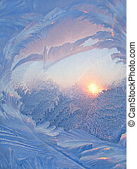 Ice pattern and sunlight on winter glass - Nature background...