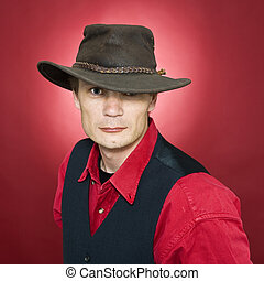 Man with leather hat