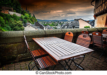 Cafe terrace in small European town