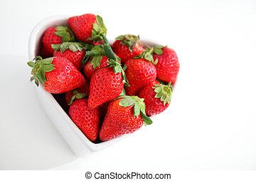 jugoso, rojo, fresas