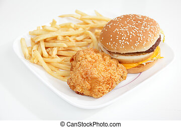 Fastfood - fried chicken and hamburger with French Fries on...