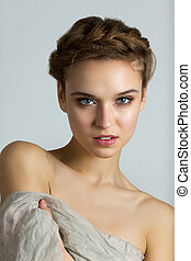 Beauty spa portrait of young beautiful woman - Pretty young...