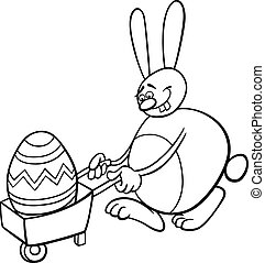 bunny and easter egg coloring page - Black and White Cartoon...