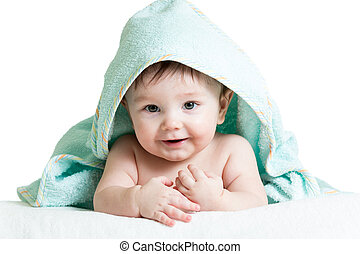 Cute happy baby in towels - Adorable happy baby in towel