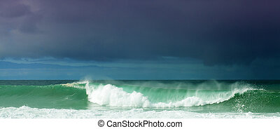 Breaking waves off north west coast of Cran Canaria, outline...