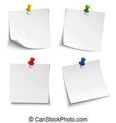 Note paper with push colored pin vector eps 10