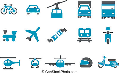 Transport Icon Set - Vector icons pack - Blue Series,...