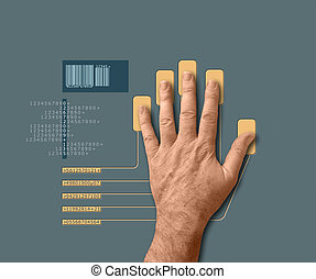 biometric scan: human hand undergoing bio scan or...