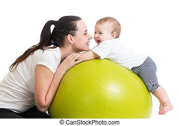 balle, gymnastique, bébé, mère, amusement, avoir