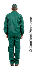 Worker in green workwear. Back view. Isolated on a white...