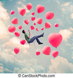 Valentines Day Background,Man With Heart Balloons