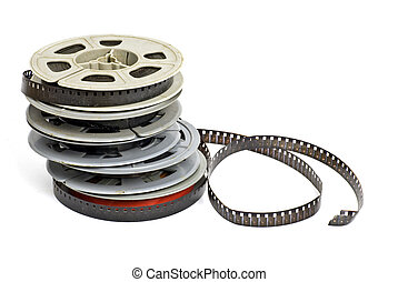 8mm - still life of dirty, old 8mm cine film and reels;...