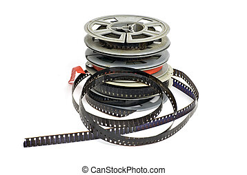 8mm film - still life of dirty, old 8mm cine film and reels;...