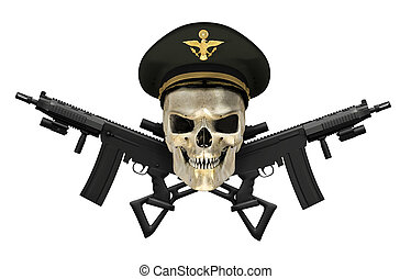 Army General Skull with Guns - A human skull wearing an Army...