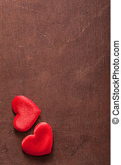 red hearts over wooden background for Valentines