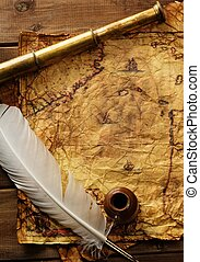 Spyglass and quill pen on old map over wooden background