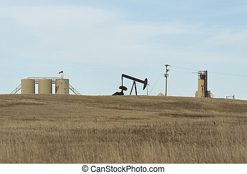 Oil Country - Oil well on the North Dakota prairie