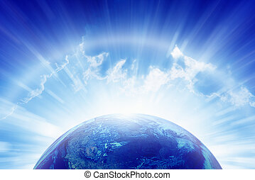 Planet Earth, bright sun, heaven - Abstract peaceful...