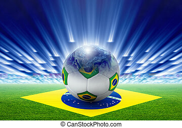 Soccer stadium, ball, globe, flag of Brazil - Soccer ball,...