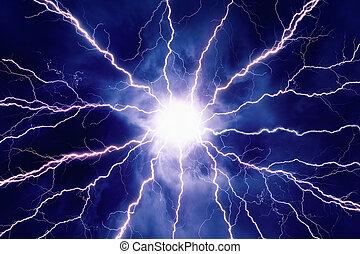 Bright lightnings in dark sky