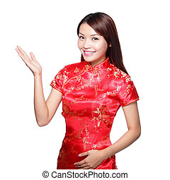 happy chinese new year - Smiling Chinese woman dress...