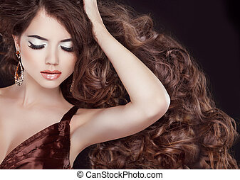 Wavy brown hair Glamour Fashion Woman Portrait with...
