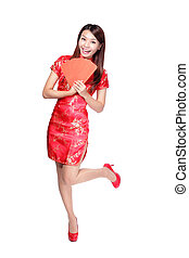 happy chinese new year smiling asian woman holding red...