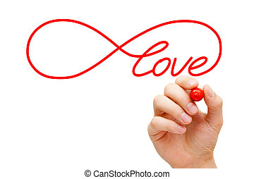 Love Infinity Concept - Hand sketching Infinity Love symbol...